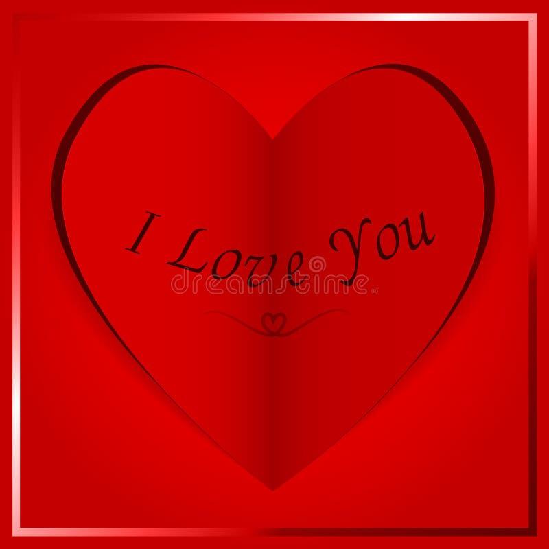 Carte de papier de coeur - je t'aime photographie stock