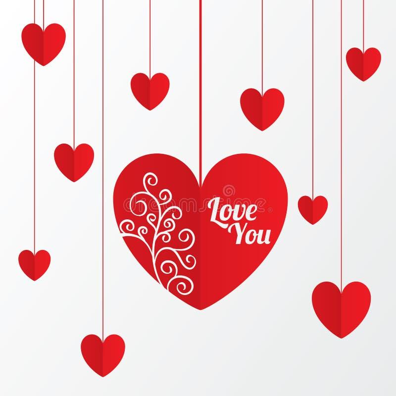 Carte de papier de jour de valentines de coeurs avec le modèle illustration de vecteur