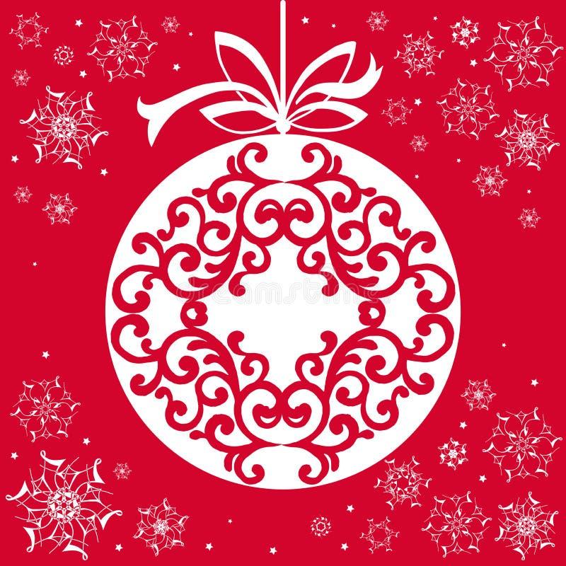 Carte de papier de Noël avec le jouet accrochant Backgr d'applique de Noël illustration libre de droits