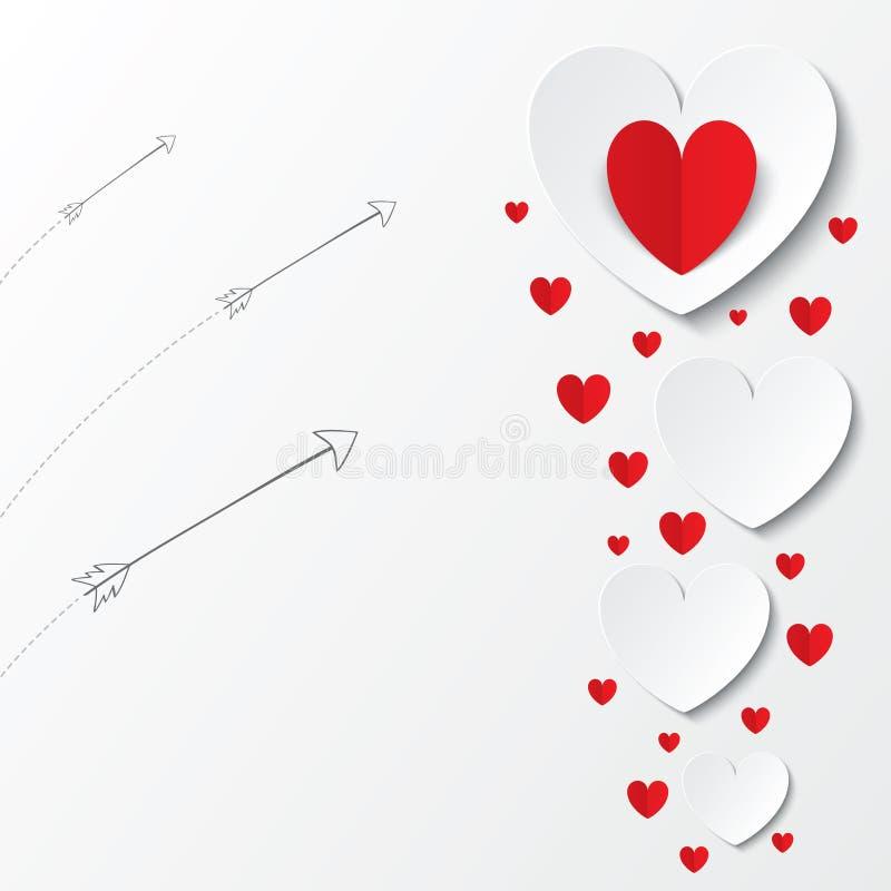 Carte de papier rouge de jour de valentines de coeurs avec des flèches illustration de vecteur
