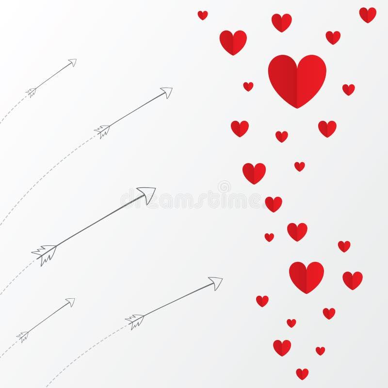 Carte de papier rouge de jour de valentines de coeurs avec des flèches illustration libre de droits