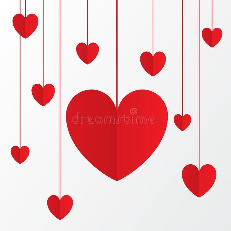 Carte de papier rouge de jour de valentines de coeurs sur le blanc. illustration libre de droits