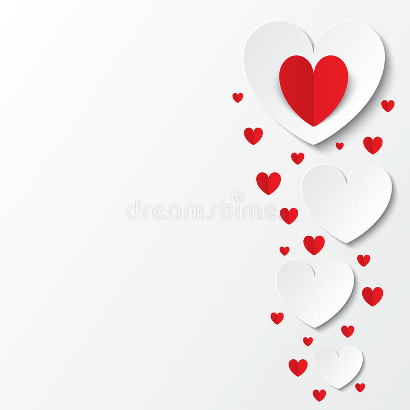 Carte de papier rouge de jour de valentines de coeurs sur le blanc illustration stock