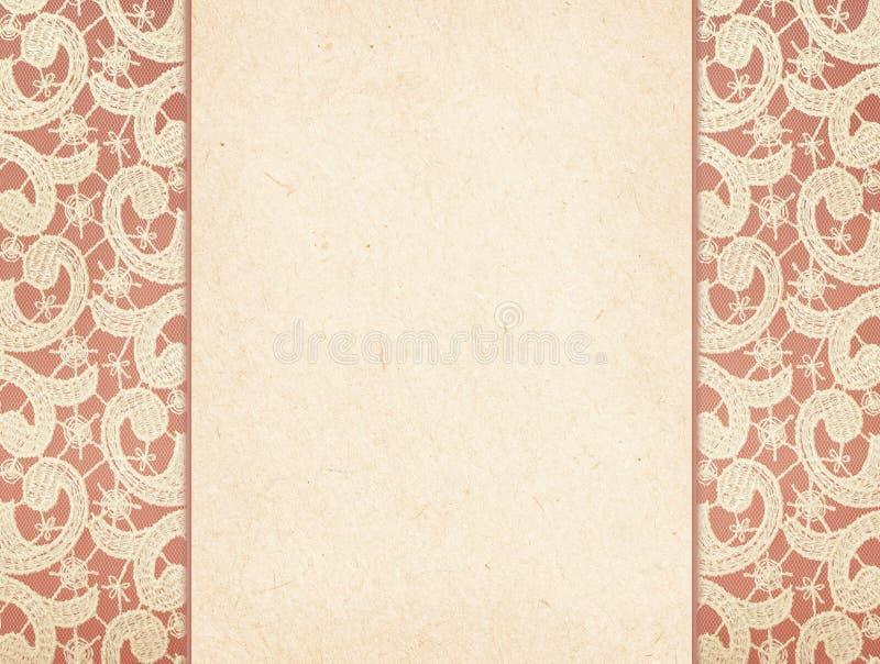 Carte de papier sur la dentelle photographie stock libre de droits