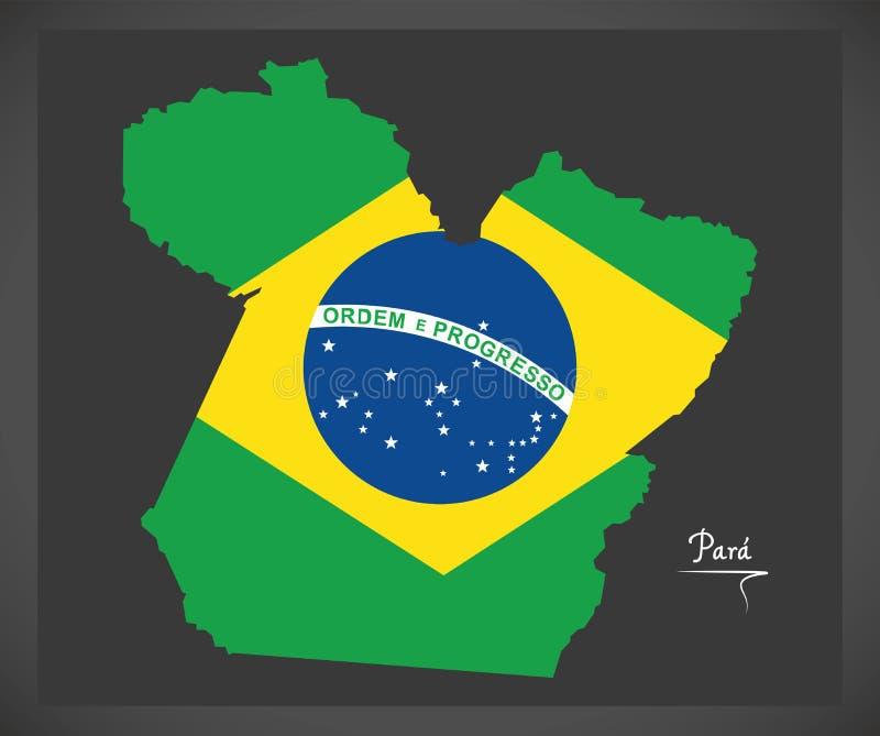 Carte de Para avec l'illustration brésilienne de drapeau national illustration stock
