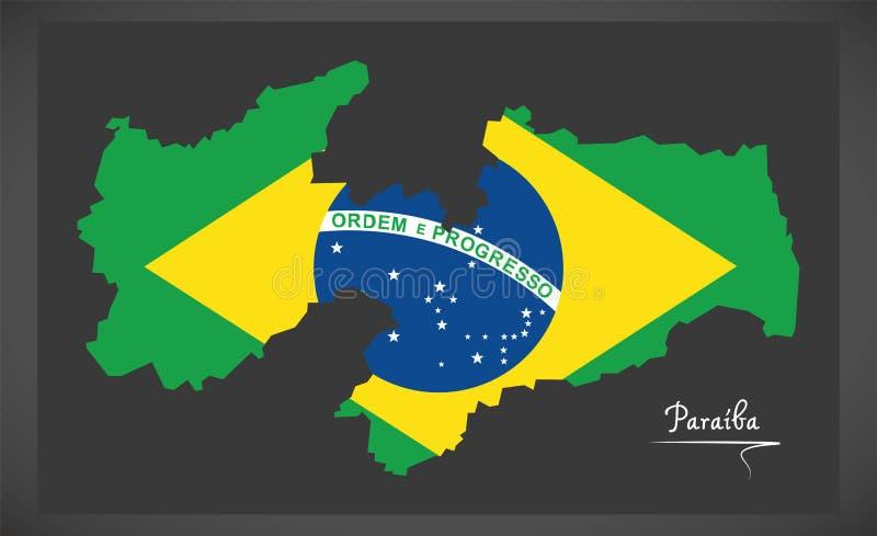 Carte de Paraiba avec l'illustration brésilienne de drapeau national illustration de vecteur