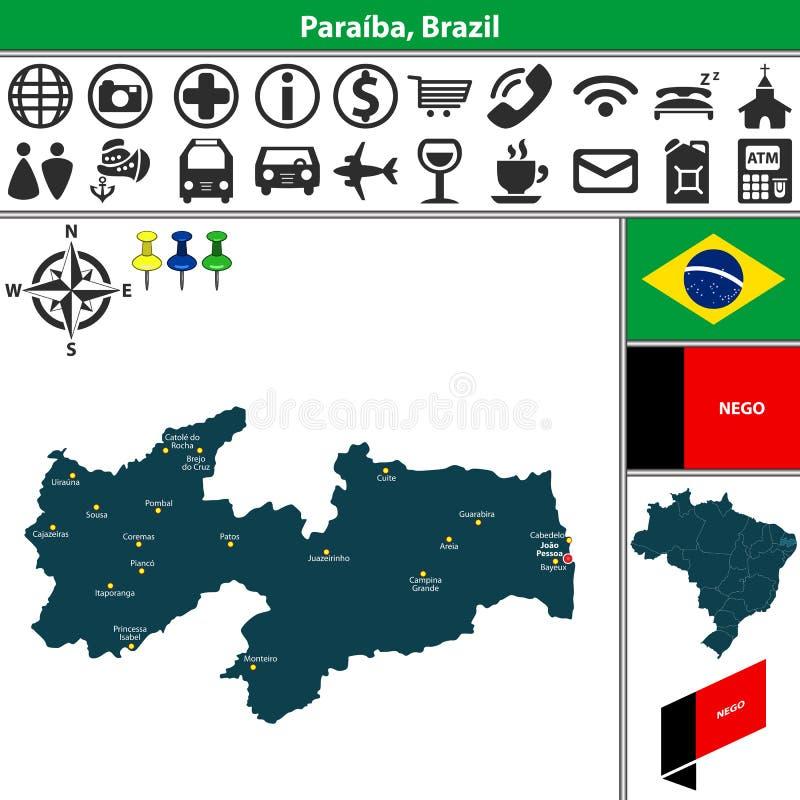 Carte de Paraiba, Brésil illustration de vecteur
