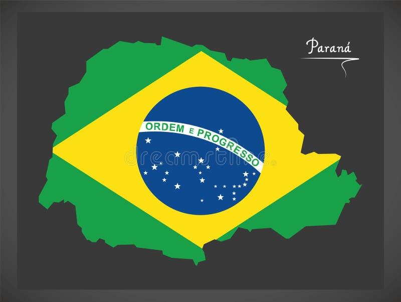 Carte de Parana avec l'illustration brésilienne de drapeau national illustration libre de droits
