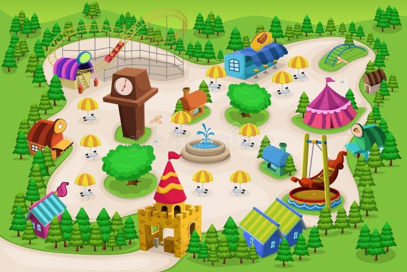 Carte de parc d'attractions illustration de vecteur