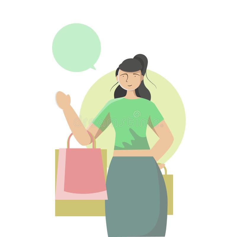 Carte de participation de femme et sacs à provisions, marchandises, nourriture, boisson, beauté, mode de vie illustration stock