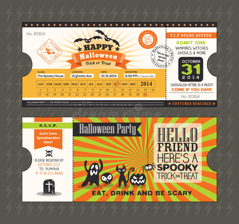 Carte de partie de Halloween dans le style de passage de billet de train illustration stock