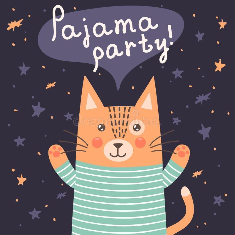 Carte de partie de pyjama avec un chat mignon illustration stock