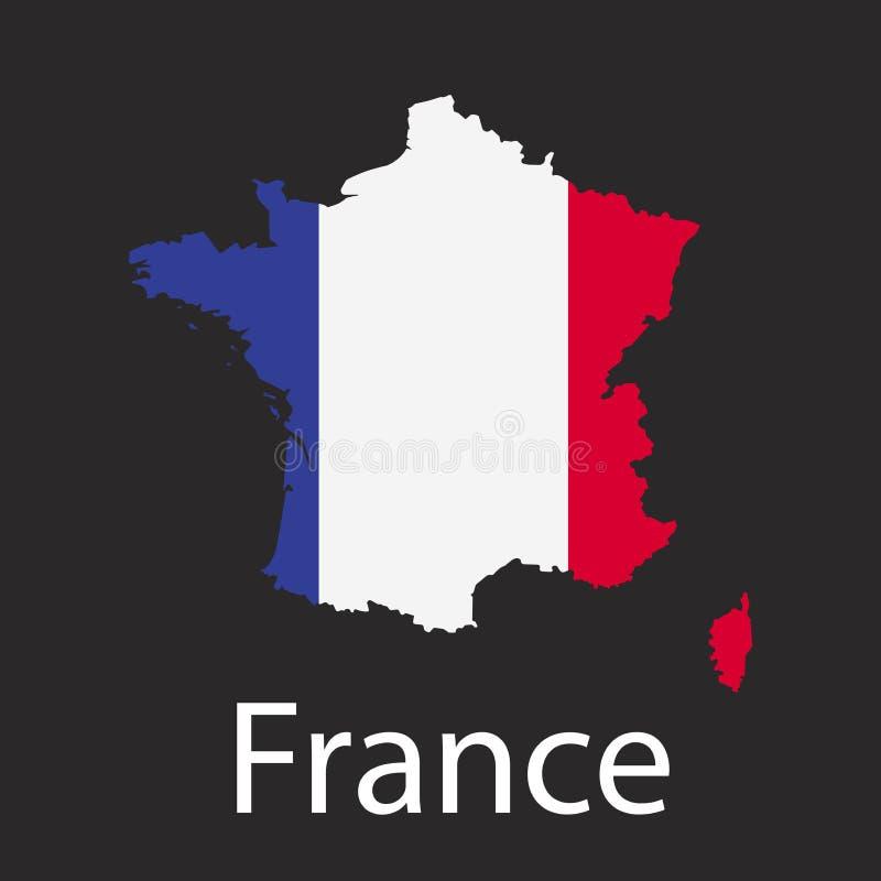 Carte de pays de Frances en couleurs de drapeau national Silhouette de pays sur l'illustration foncée de vecteur de fond illustration stock