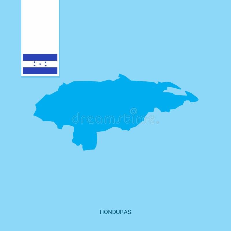 Carte de pays du Honduras avec le drapeau au-dessus du fond bleu illustration de vecteur