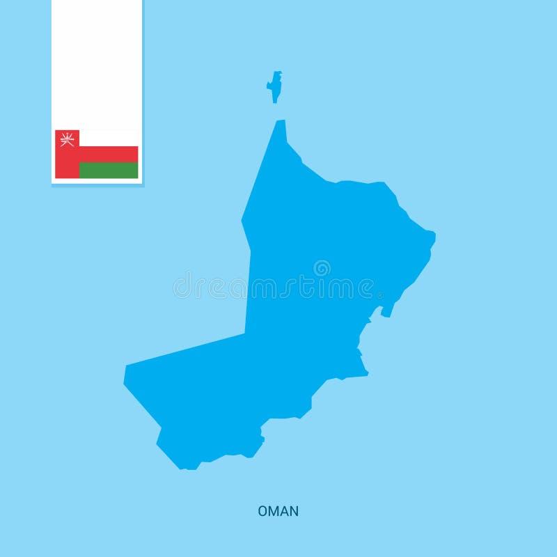 Carte de pays de l'Oman avec le drapeau au-dessus du fond bleu illustration stock