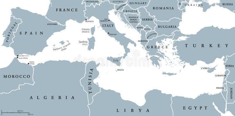 Carte de pays de région de la mer Méditerranée illustration libre de droits