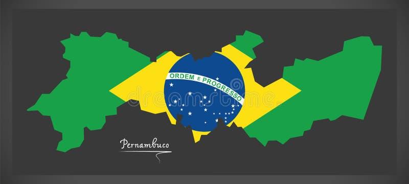 Carte de Pernambuco avec l'illustration brésilienne de drapeau national illustration stock