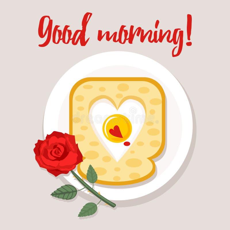 Carte de petit déjeuner de jour du ` s de Valentine, affiche avec le souhait bonjour illustration stock