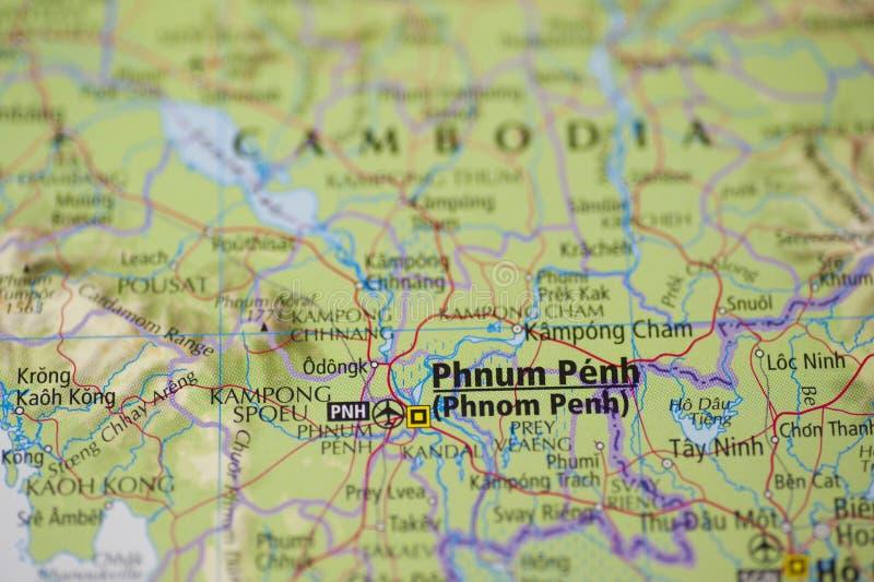 Carte de Phnom Penh Cambodge images stock