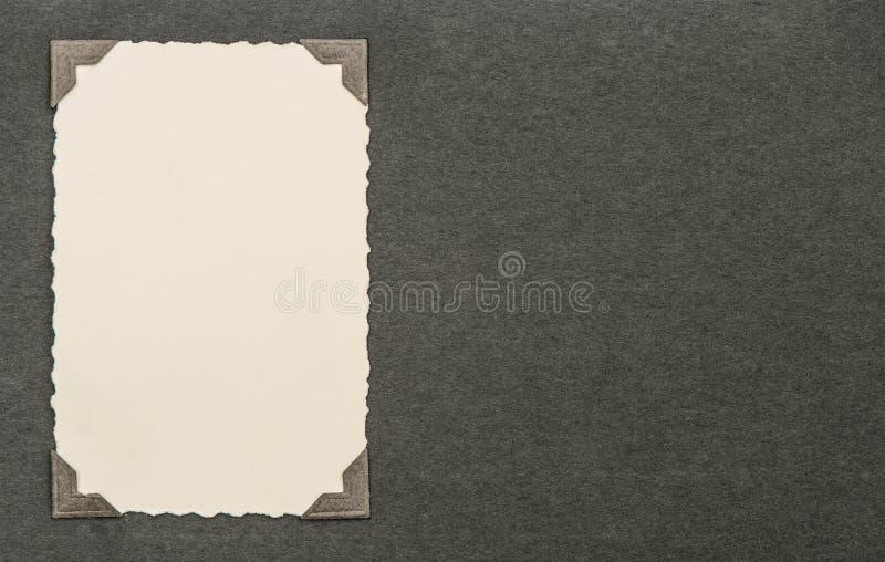 Carte de photo de vintage avec le coin Page d'album Texture (de papier) froissée photo stock