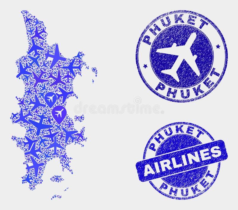 Carte de Phuket de vecteur de composition en aviation et joints grunges illustration stock