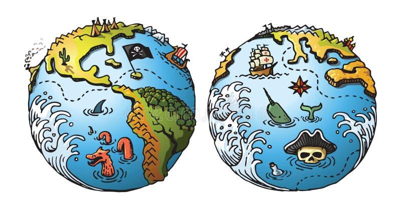 Carte de pirate de la terre illustration stock