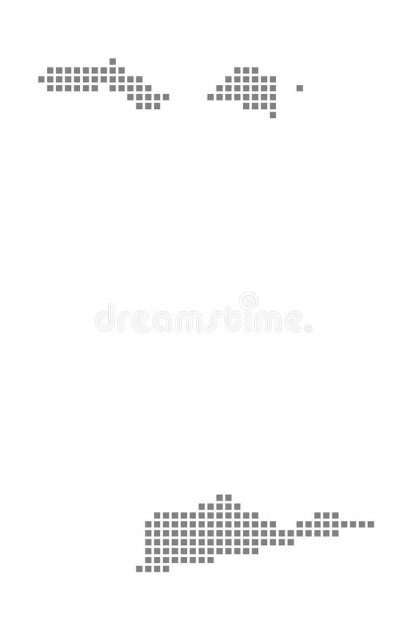 Carte de pixel des Îles Vierges américaines Dirigez la carte pointillée des Îles Vierges américaines d'isolement sur le fond blan illustration libre de droits