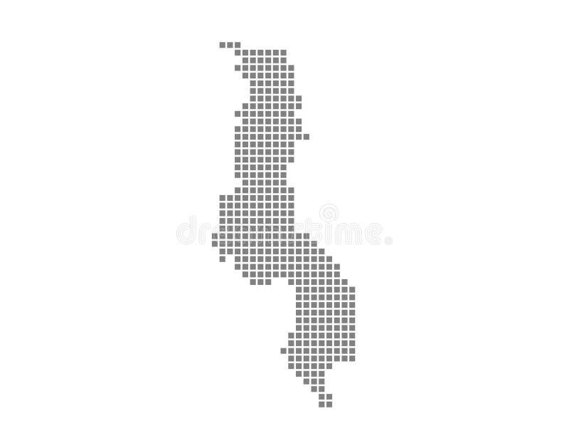 Carte de pixel du Malawi Dirigez la carte pointillée du Malawi a isolé sur le fond blanc Infographie abstraite de carte du Malawi illustration libre de droits