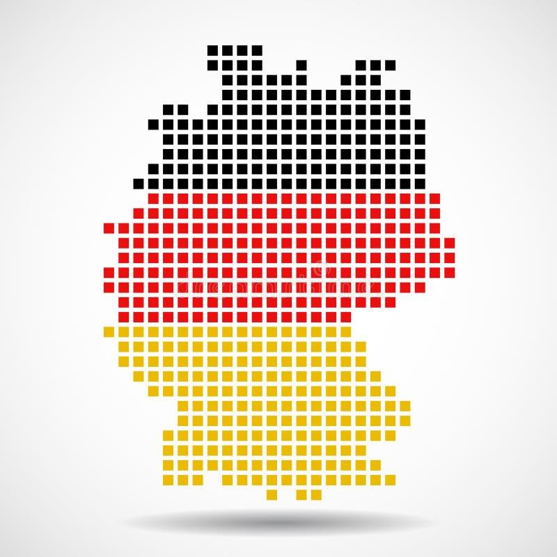 Carte de pixel de l'Allemagne avec le drapeau à l'intérieur illustration stock