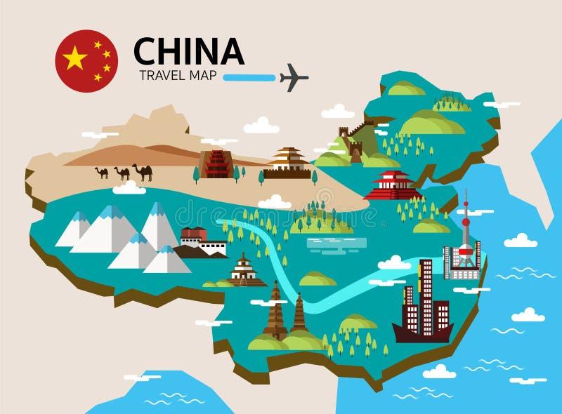 Carte de point de repère et de voyage de la Chine illustration de vecteur