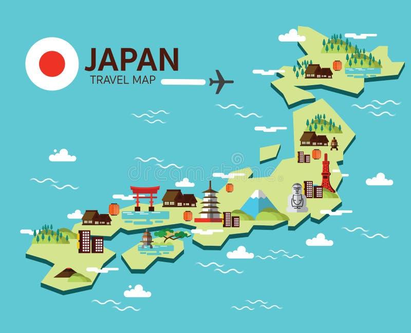 Carte de point de repère et de voyage du Japon Éléments et icônes plats de conception V illustration de vecteur