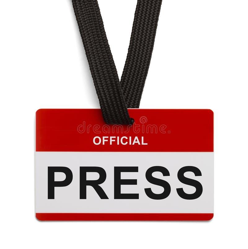 Carte de presse officielle photos stock