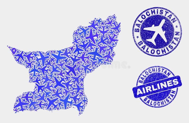 Carte de province de Balochistan de vecteur de mosaïque de lignes aériennes et joints grunges illustration stock