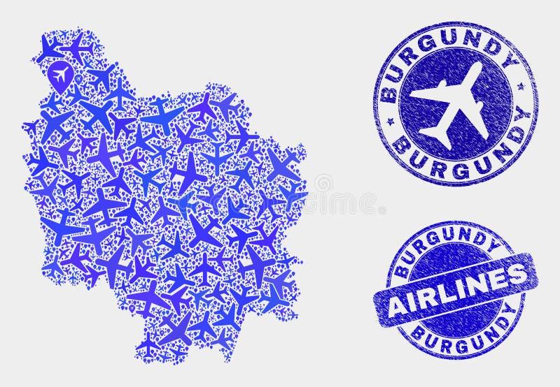 Carte de province de Bourgogne de vecteur de composition en avion et joints grunges illustration stock
