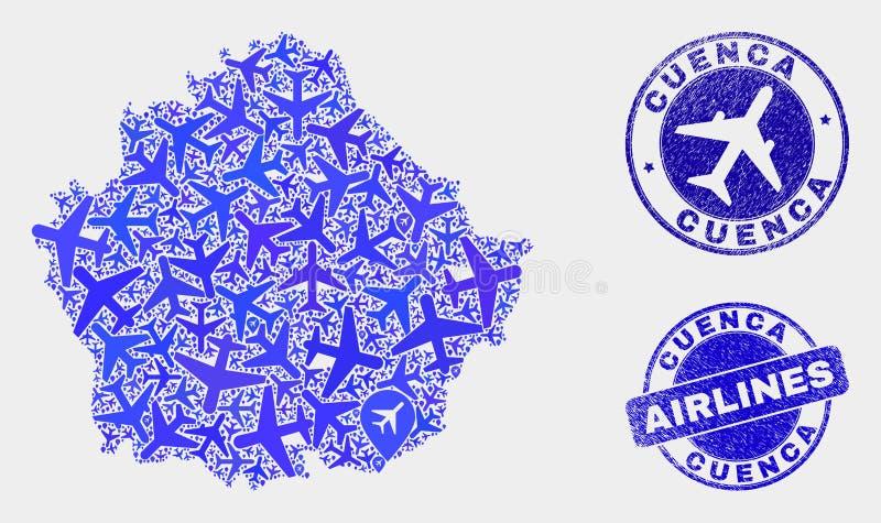 Carte de province de Cuenca de vecteur de composition en lignes aériennes et timbres grunges illustration stock