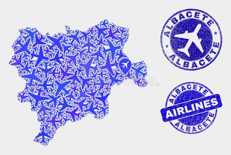 Carte de province d'Albacete de vecteur de mosaïque d'avion et timbres grunges illustration de vecteur