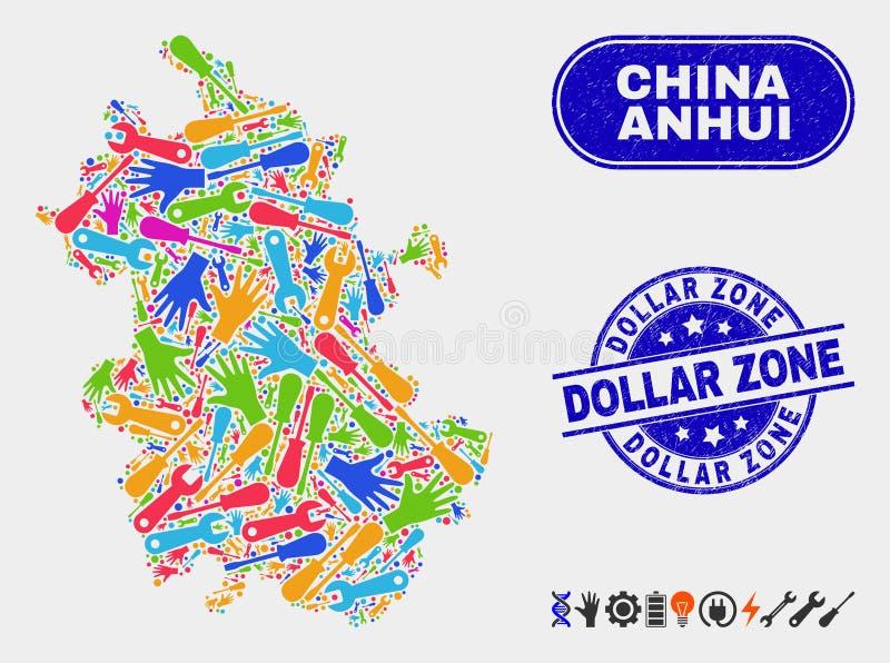 Carte de province d'Anhui de productivité et joints rayés de zone dollar illustration stock
