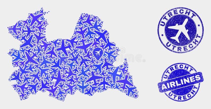 Carte de province d'Utrecht de vecteur de collage d'avion d'air et timbres grunges illustration libre de droits