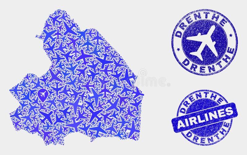 Carte de province de Drenthe de vecteur de mosaïque de lignes aériennes et timbres grunges illustration stock