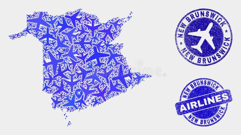 Carte de province du Nouveau Brunswick de vecteur de mosaïque de ligne aérienne et timbres grunges illustration libre de droits