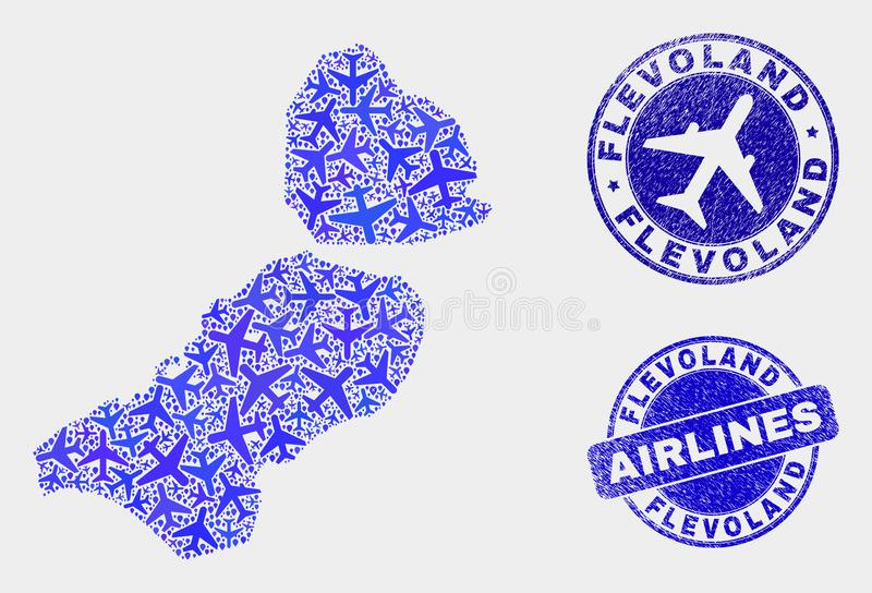 Carte de province de Flevoland de vecteur de composition en aviation et joints grunges illustration de vecteur