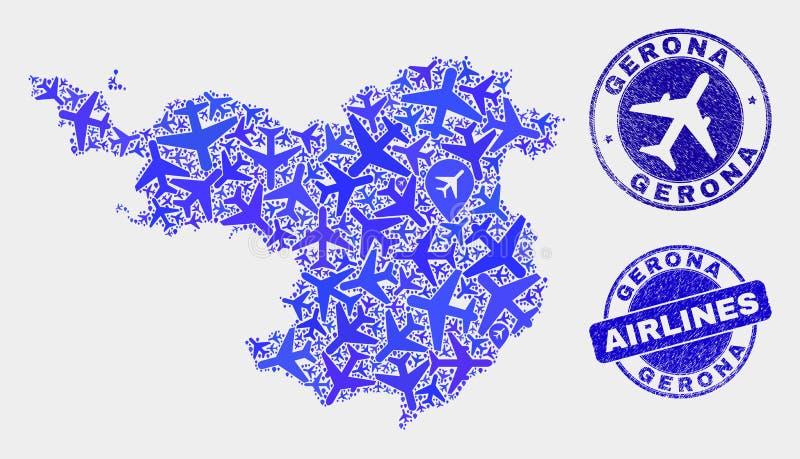 Carte de province de Gerona de vecteur de composition en avion et joints grunges illustration de vecteur