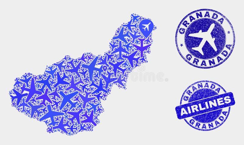 Carte de province de Grenade de vecteur de mosaïque d'avion et joints grunges illustration de vecteur