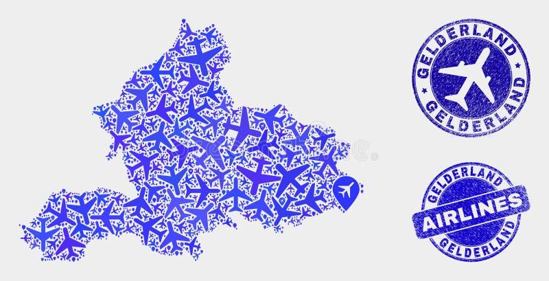 Carte de province de Gueldre de vecteur de collage de ligne aérienne et joints grunges illustration de vecteur