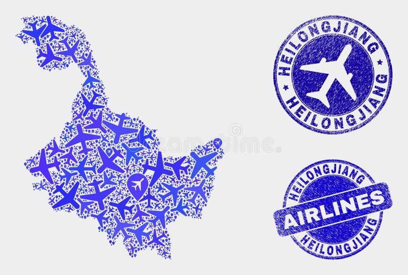 Carte de province de Heilongjiang de vecteur de composition en avion et joints grunges illustration libre de droits