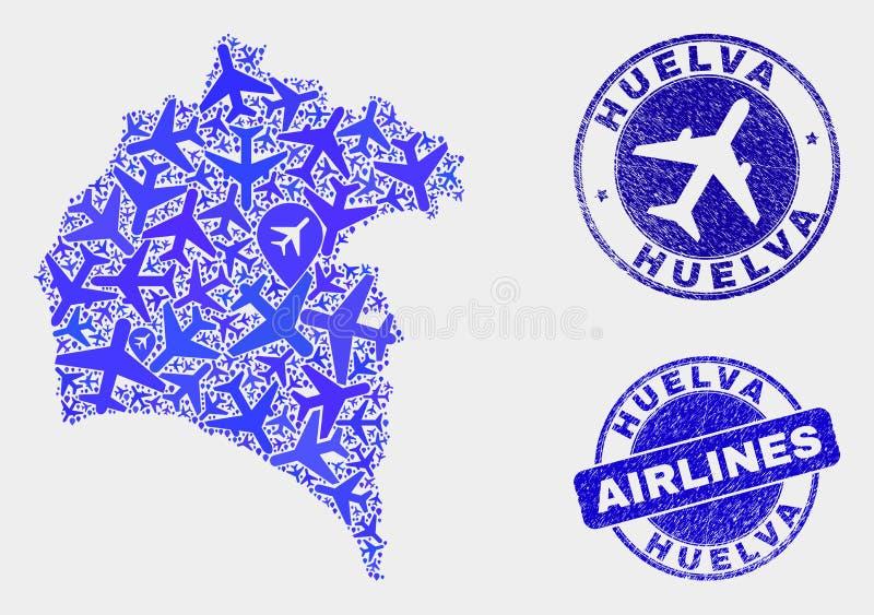 Carte de province de Huelva de vecteur de composition en avion et timbres grunges illustration stock