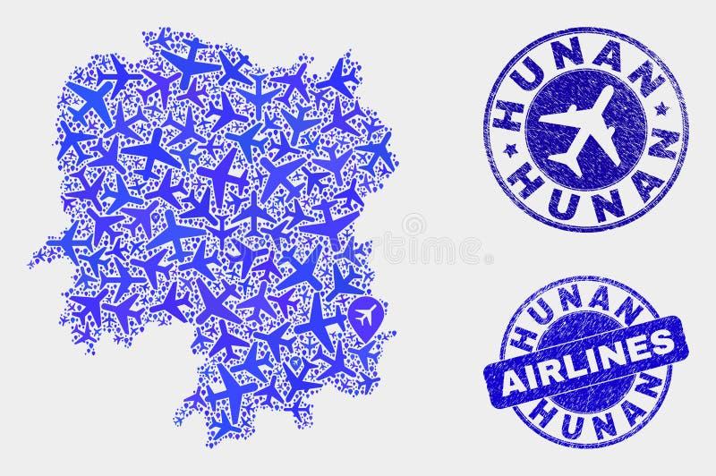 Carte de province de Hunan de vecteur de composition en lignes aériennes et joints grunges illustration stock
