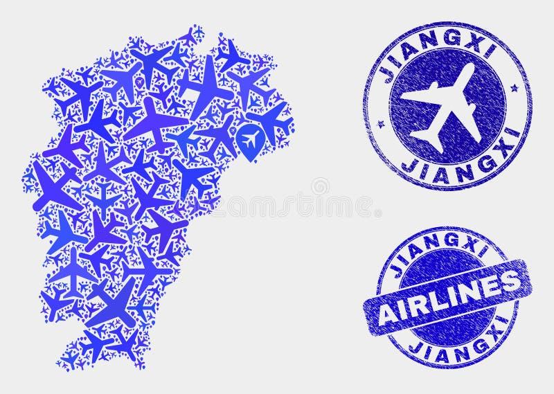 Carte de province de Jiangxi de vecteur de mosaïque d'avion et timbres grunges illustration libre de droits