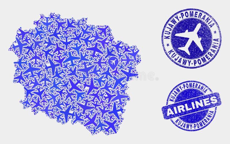 Carte de province de Kujawy-Pomerania de vecteur de composition en aviation et timbres grunges illustration de vecteur