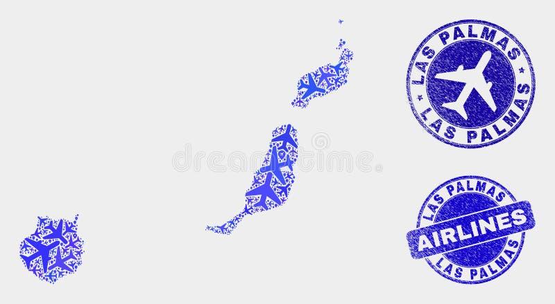 Carte de province de Las Palmas de vecteur de collage d'avion d'air et timbres grunges illustration de vecteur